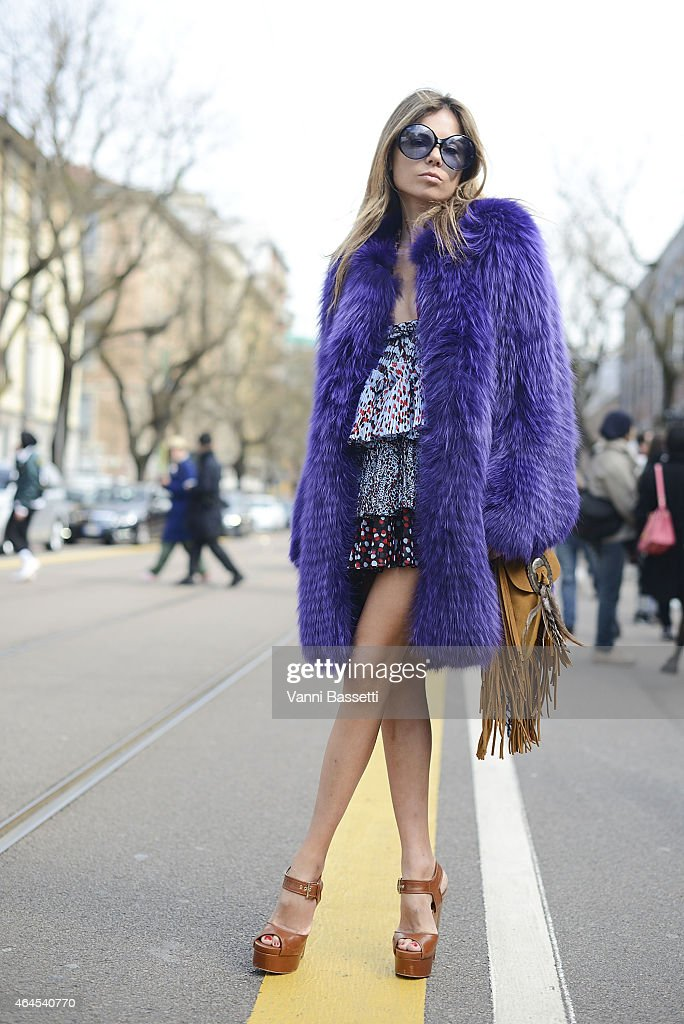 Erica Pelosini poses wearing Cavalli on February 26 2015 in Milan Italy