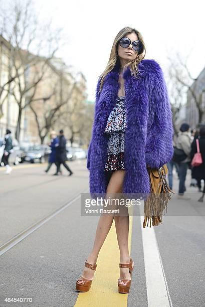 Erica Pelosini poses wearing Cavalli on February 26 2015 in Milan Italy