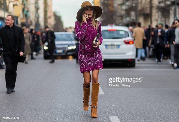 Erica Pelosini wearing Etro outside Etro during Milan Men's Fashion Week Fall/Winter 2016/17 on January 18 in Milan Italy