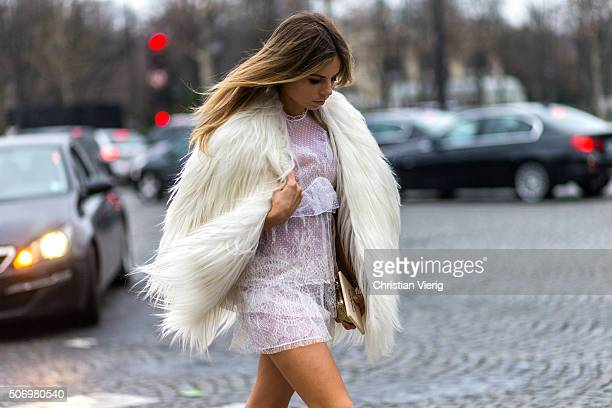 Erica Pelosini wearing Francesco Scognamiglio outside Chanel during the Paris Fashion Week Haute Couture Spring/Summer 2016 on January 26 2016 in...