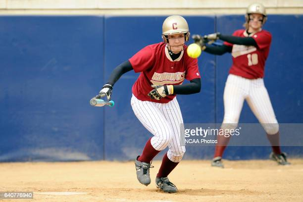 Erica Smothers of Coe College bunts during the Division III Women's Softball Championship held at the Montclair State University Softball Stadium in...