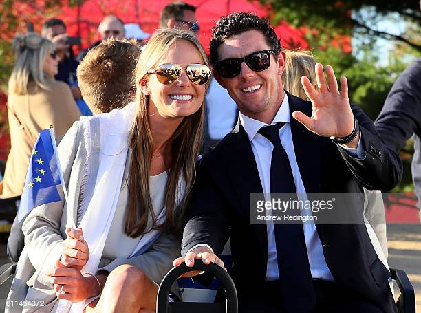 Erica Stoll and Rory McIlroy of Europe attend the 2016 Ryder Cup Opening Ceremony at Hazeltine National Golf Club on September 29 2016 in Chaska...