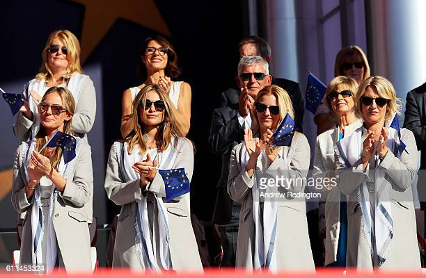 Erica Stoll Eva Bossaerts Kate Rose and Emma Stenson look on during the 2016 Ryder Cup Opening Ceremony at Hazeltine National Golf Club on September...