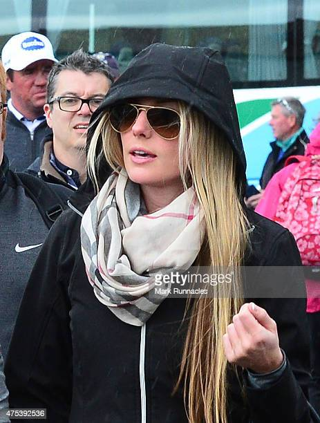 Erica Stoll girlfriend of Rory McIlroy of Northern Ireland arrives at the course with her golfer boyfriend during the fourth round of the Dubai Duty...