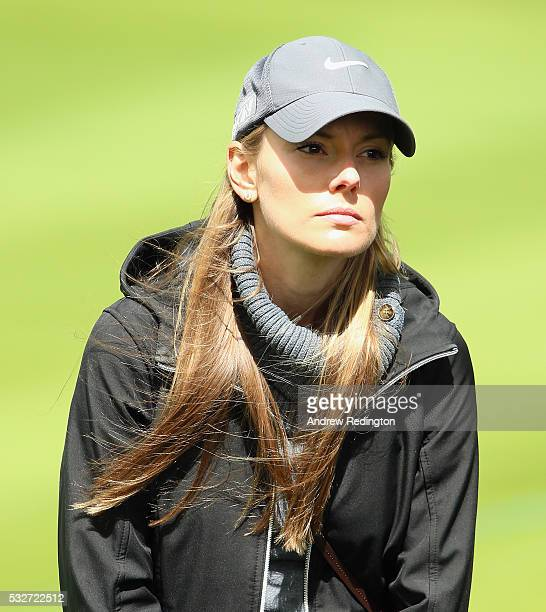 Erica Stoll the fiancee of Rory McIlroy of Northern Ireland looks onduring the first round of the Dubai Duty Free Irish Open Hosted by the Rory...