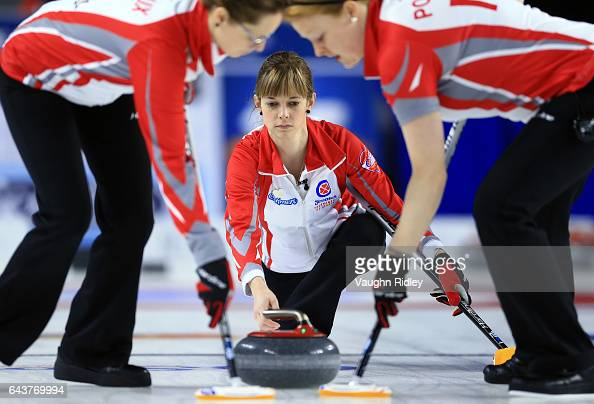 Erica Trickett of Newfoundland Labrador delivers a stone in a draw eleven match against Ontario during the 2017 Scotties Tournament of Hearts at the...