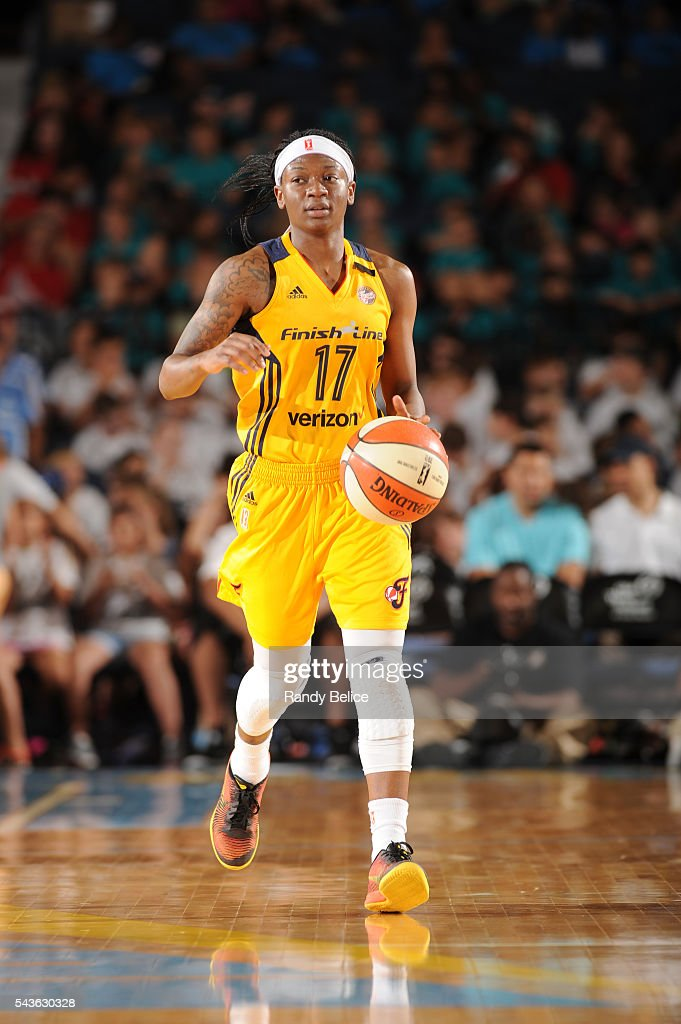 Erica Wheeler #17 of the Indiana Fever brings the ball up court against the Chicago Sky on June 29, 2016 at Allstate Arena in Rosemont, IL.