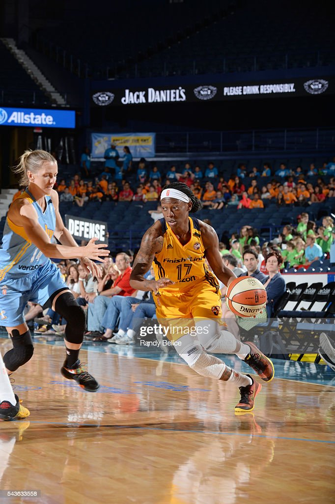 Erica Wheeler #17 of the Indiana Fever drives to the basket against the Chicago Sky on June 29, 2016 at Allstate Arena in Rosemont, IL.