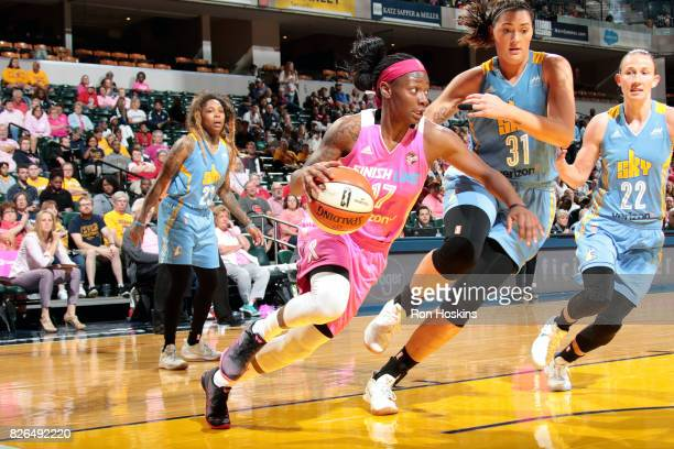 Erica Wheeler of the Indiana Fever drives to the basket during the game against the Chicago Sky during a WNBA game on August 4 2017 at Bankers Life...