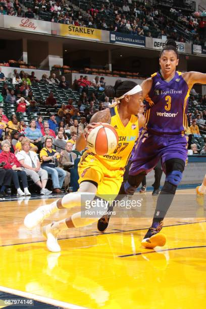 Erica Wheeler of the Indiana Fever handles the ball during a game against the Los Angeles Sparks on May 24 2017 at Bankers Life Fieldhouse in...