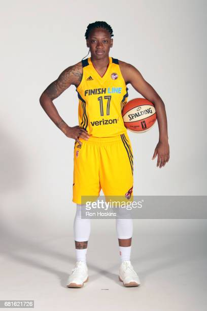 Erica Wheeler of the Indiana Fever of the Indiana Fever poses for a portrait during Media Day at Bankers Life Fieldhouse on May 9 2017 in...