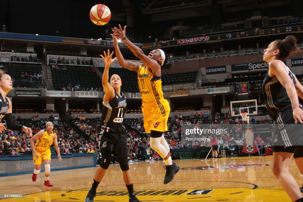 Erica Wheeler #17 of the Indiana Fever passes the ball against the San Antonio Stars on September 2, 2017 at Bankers Life Fieldhouse in Indianapolis, Indiana.