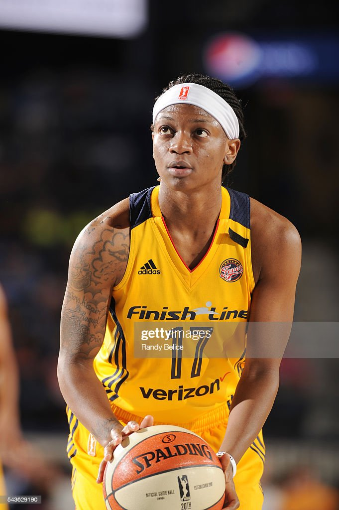 Erica Wheeler #17 of the Indiana Fever prepares to shoot a free throw against the Chicago Sky on June 29, 2016 at Allstate Arena in Rosemont, IL.