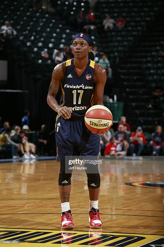 Erica Wheeler #17 of the Indiana Fever shoots a free throw against the Dallas Wings during a preseason game on May 1, 2016 at Bankers Life Fieldhouse in Indianapolis, Indiana.