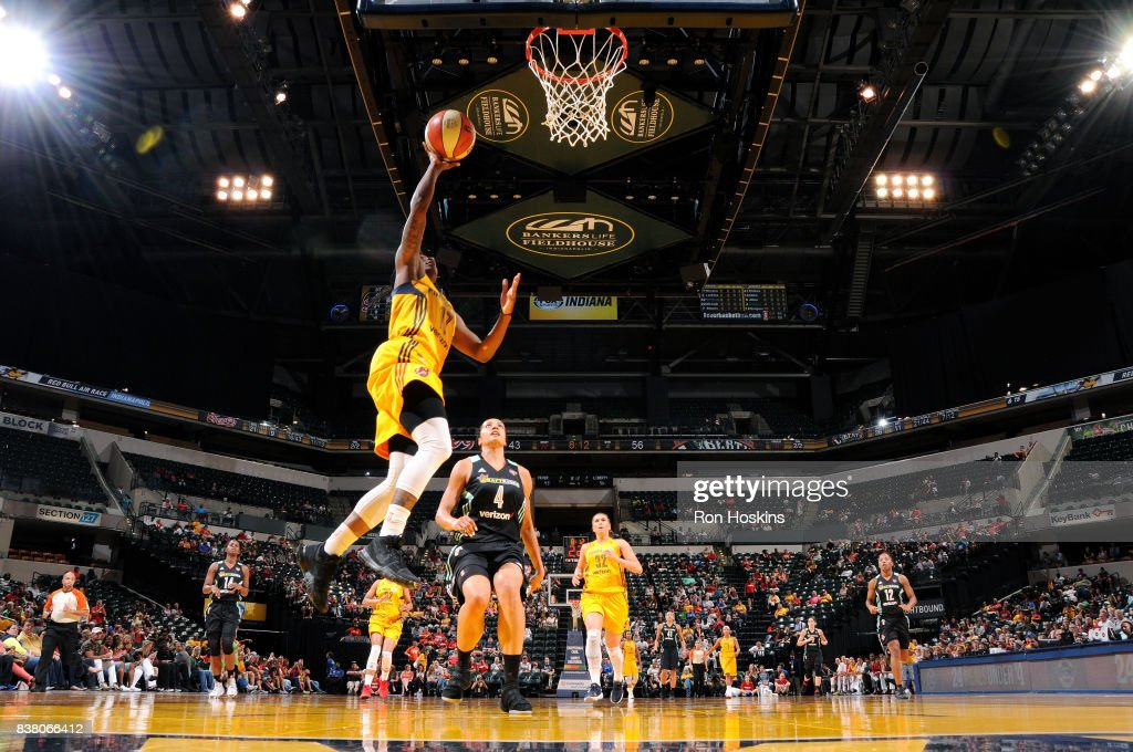 Erica Wheeler #17 of the Indiana Fever shoots a lay up during the game against the New York Liberty during a WNBA game on August 23, 2017 at Bankers Life Fieldhouse in Indianapolis, Indiana.