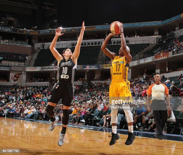 Erica Wheeler of the Indiana Fever shoots the ball against Kelsey Plum of the San Antonio Stars on September 2 2017 at Bankers Life Fieldhouse in...