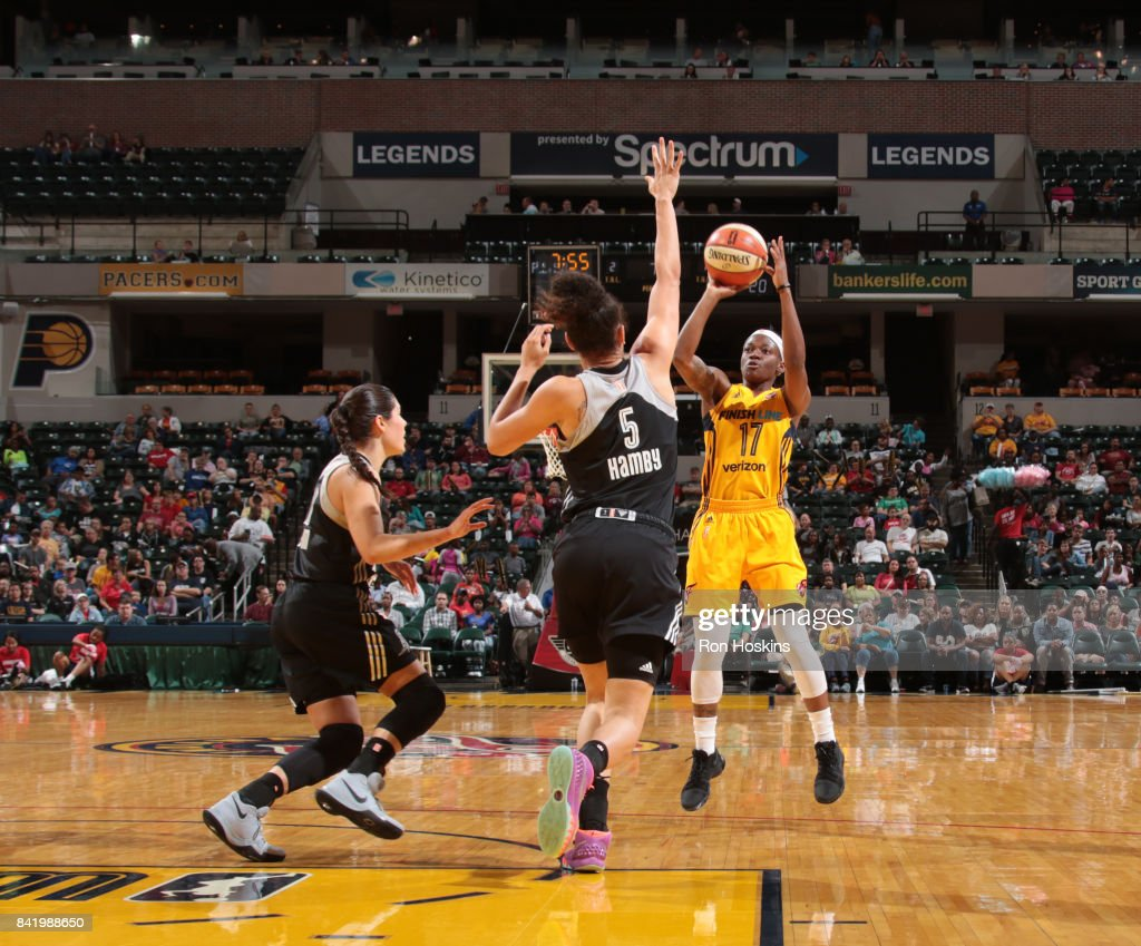 Erica Wheeler #17 of the Indiana Fever shoots the ball against the San Antonio Stars on September 2, 2017 at Bankers Life Fieldhouse in Indianapolis, Indiana.