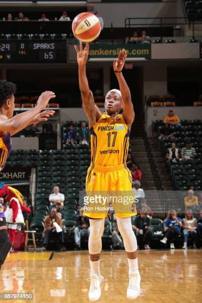 Erica Wheeler of the Indiana Fever shoots the ball during a game against the Los Angeles Sparks on May 24 2017 at Bankers Life Fieldhouse in...