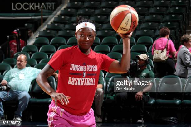Erica Wheeler of the Indiana Fever warms up before the game against the Chicago Sky during a WNBA game on August 4 2017 at Bankers Life Fieldhouse in...