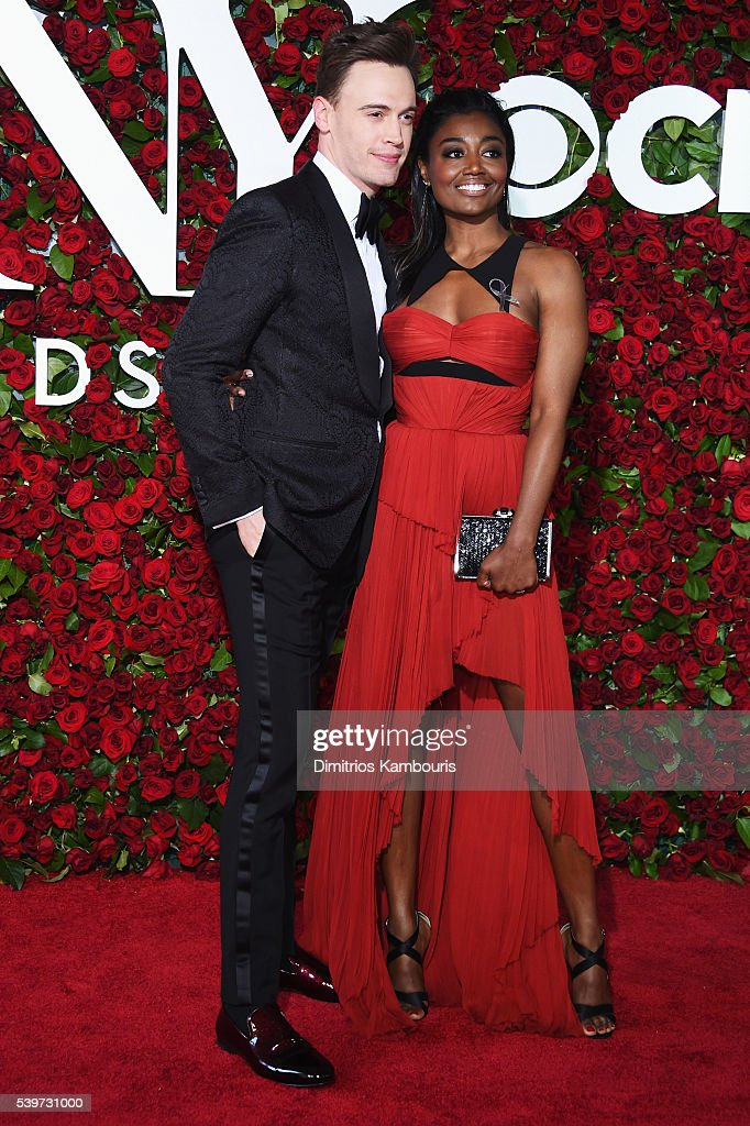 Erich Bergen and Patina Miller attend the 70th Annual Tony Awards at The Beacon Theatre on June 12 2016 in New York City