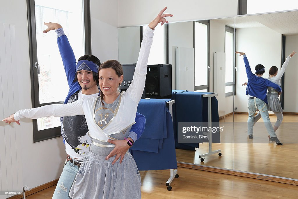 Erich Klann and Simone Ballack pose at a photo call for the sixth season on Germany's RTL network competition 'Let's Dance' on March 26, 2013 in Starnberg, Germany.