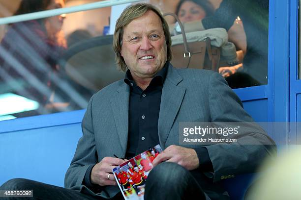 Erich Kuehnhackl looks on during the DEL Ice Hockey match between EHC Red Bull Muenchen and Krefeld Pinguine at Olympia Eishalle on October 31 2014...