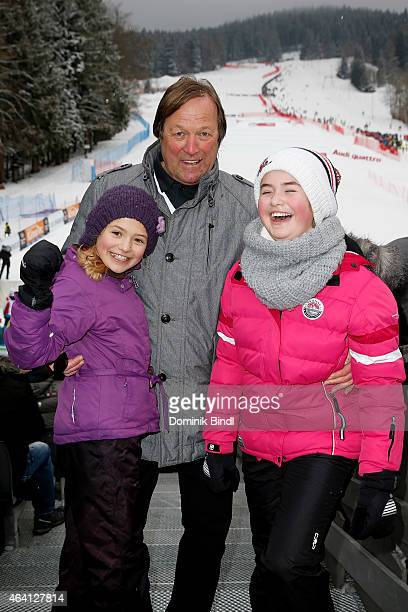 Erich Kuehnhackl with his daughters attend the Audi FIS Ski Cross World Cup 2015 on February 22 2015 in Tegernsee Germany