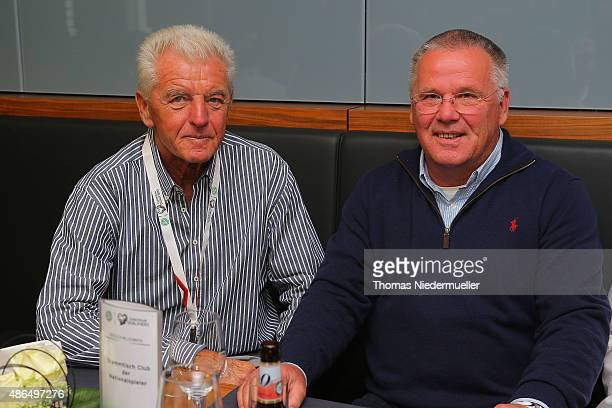 Erich Ribbeck and Peter Reichel member of the Club of Former National Players are seen prior to the EURO 2016 Qualifier match between Germany and...