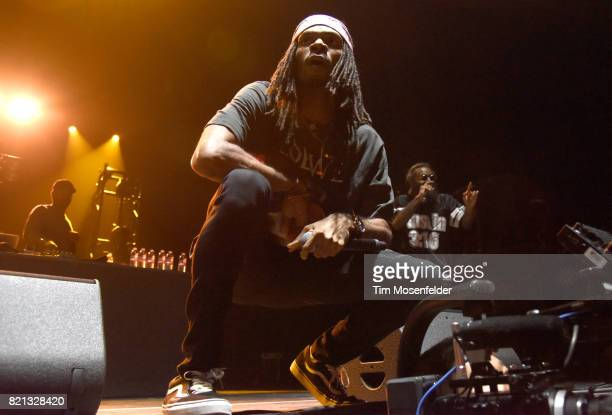 Erick Arc Elliot and Zombie Juice of Flatbush Zombies perform at Bill Graham Civic Auditorium on July 22 2017 in San Francisco California