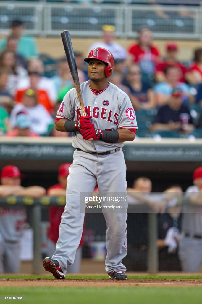 <a gi-track='captionPersonalityLinkClicked' href=/galleries/search?phrase=Erick+Aybar&family=editorial&specificpeople=551376 ng-click='$event.stopPropagation()'>Erick Aybar</a> #2 of the Los Angeles Angels bats against the Minnesota Twins on August 9, 2013 at Target Field in Minneapolis, Minnesota. The Twins defeated the Angels 6-3.