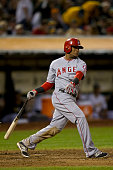 Erick Aybar of the Los Angeles Angels of Anaheim at bat against the Oakland Athletics during the fourth inning at Oco Coliseum on September 23 2014...