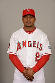 Erick Aybar of the Los Angeles Angels poses during Photo Day on Saturday February 28 2015 at Tempe Diablo Stadium in Tempe Arizona