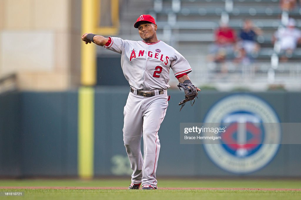 <a gi-track='captionPersonalityLinkClicked' href=/galleries/search?phrase=Erick+Aybar&family=editorial&specificpeople=551376 ng-click='$event.stopPropagation()'>Erick Aybar</a> #2 of the Los Angeles Angels throws against the Minnesota Twins on August 9, 2013 at Target Field in Minneapolis, Minnesota. The Twins defeated the Angels 6-3.