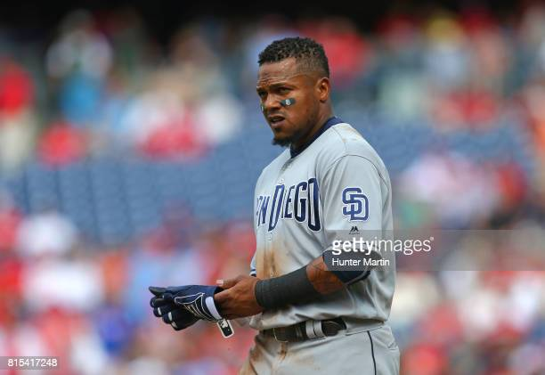 Erick Aybar of the San Diego Padres during a game against the Philadelphia Phillies at Citizens Bank Park on July 8 2017 in Philadelphia Pennsylvania...