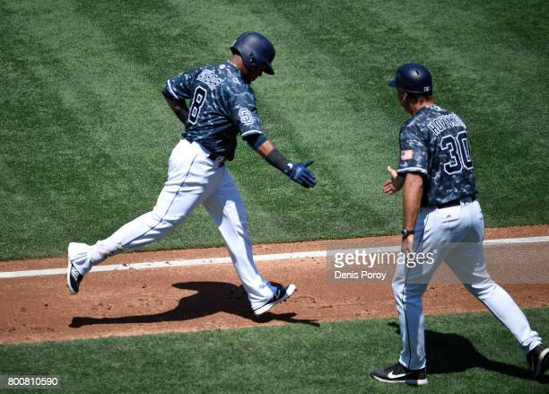 Erick Aybar of the San Diego Padres left is congratulated by Glenn Hoffman after hitting a solo home run during the second inning of a baseball game...