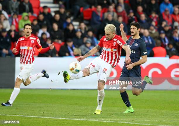 Erick Cabaco Almada of Nancy and Goncalo Guedes of PSG in action during the French Ligue 1 match between Paris Saint Germain and AS Nancy Lorraine at...