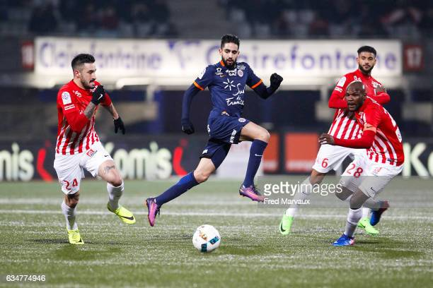 Erick Cabaco Almada of Nancy and Ryad Boudebouz of Montpellier and Julien Cetout of Nancy during the Ligue 1 match between As Nancy Lorraine and...