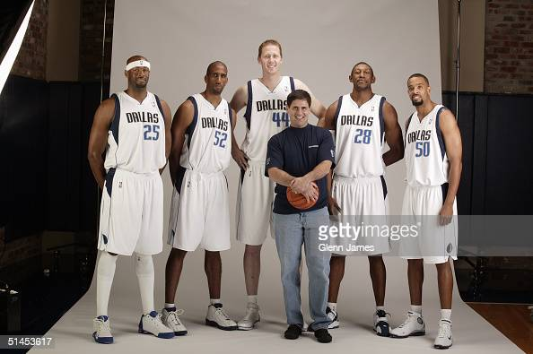 Erick Dampier Calvin Booth Shawn Bradley Didier IlungaMbenga and Alan Henderson of the Dallas Mavericks pose with owner Mark Cuban for a portrait...