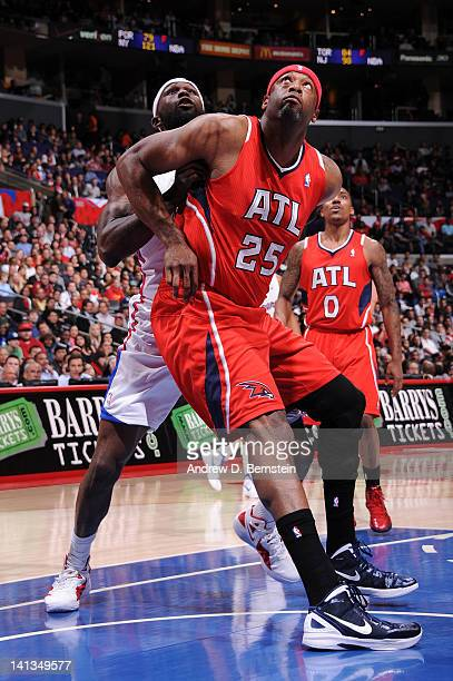Erick Dampier of the Atlanta Hawks boxes out against Reggie Evans of the Los Angeles Clippers at Staples Center on March 14 2012 in Los Angeles...