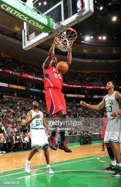 Erick Dampier of the Atlanta Hawks dunks the ball during Game Four of the Eastern Conference Quarterfinals between the Atlanta Hawks and the Boston...