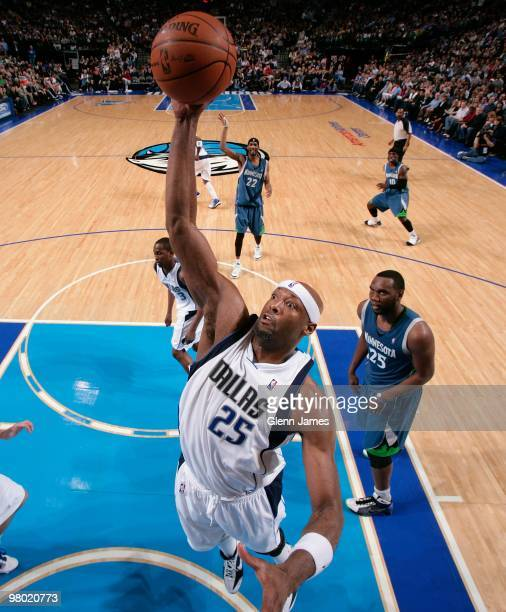 Erick Dampier of the Dallas Mavericks grabs a rebound against the Minnesota Timberwolves during the game at the American Airlines Center on February...