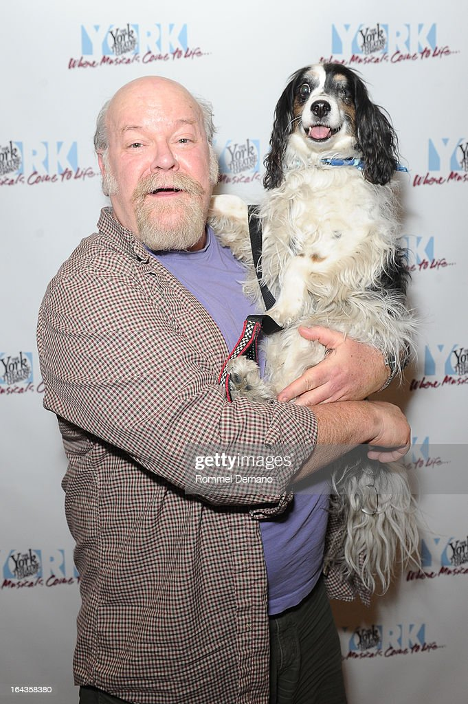 Erick Devine and his dog Jackson attend the off-Broadway opening night of 'Silk Stockings' at The York Theatre at Saint Peter's on March 22, 2013 in New York City.