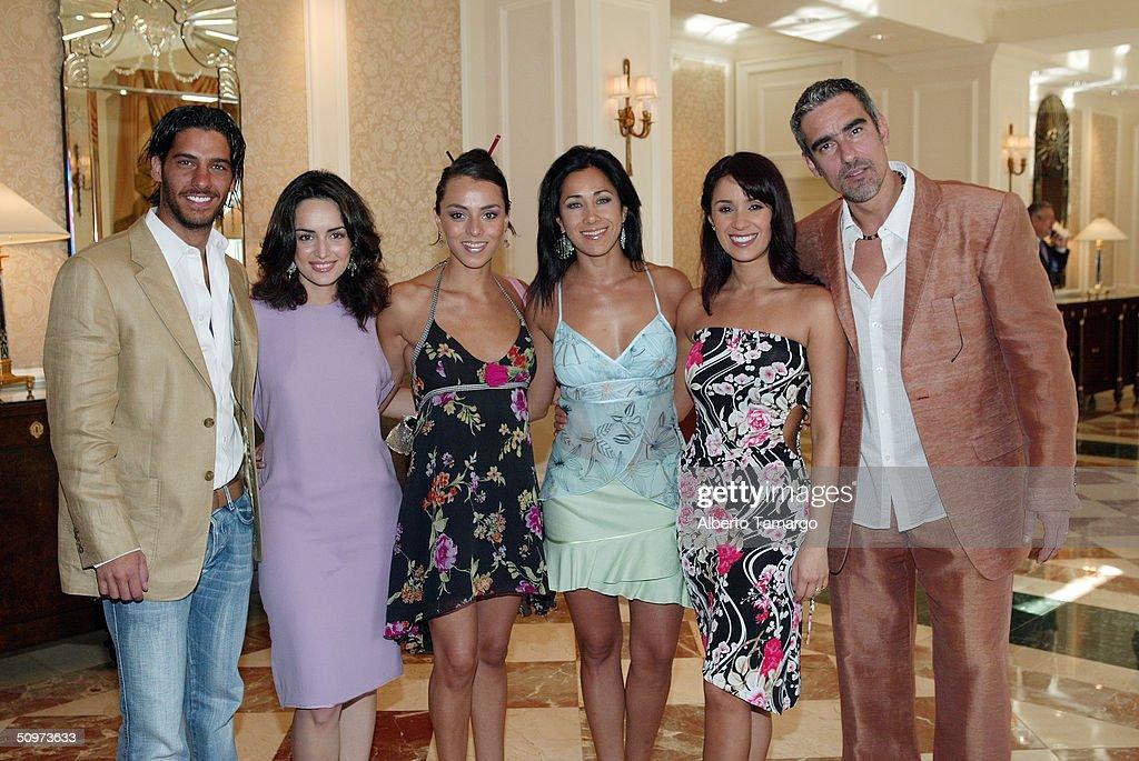 Erick Elias, Ana De LA Reguera, Ivonne Montero, Monica Noguera, Katerine Siachoque and Miguel Varoni pose at The Ritz Carlton Hotel in Coconut Grove where Telemundo network's new 2004-2005 program line up was revealed June 17, 2004 in Miami, Florida.