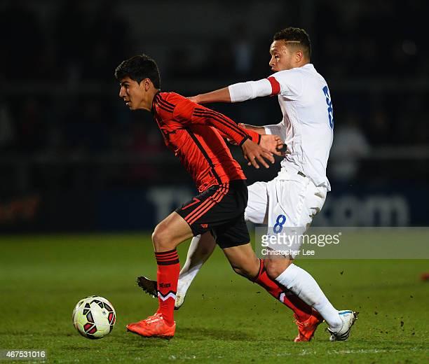 Erick Gabriel Gutierrez Galaviz of Mexico battles with Lewis Baker of England during the U20 International Friendly match between England and Mexico...