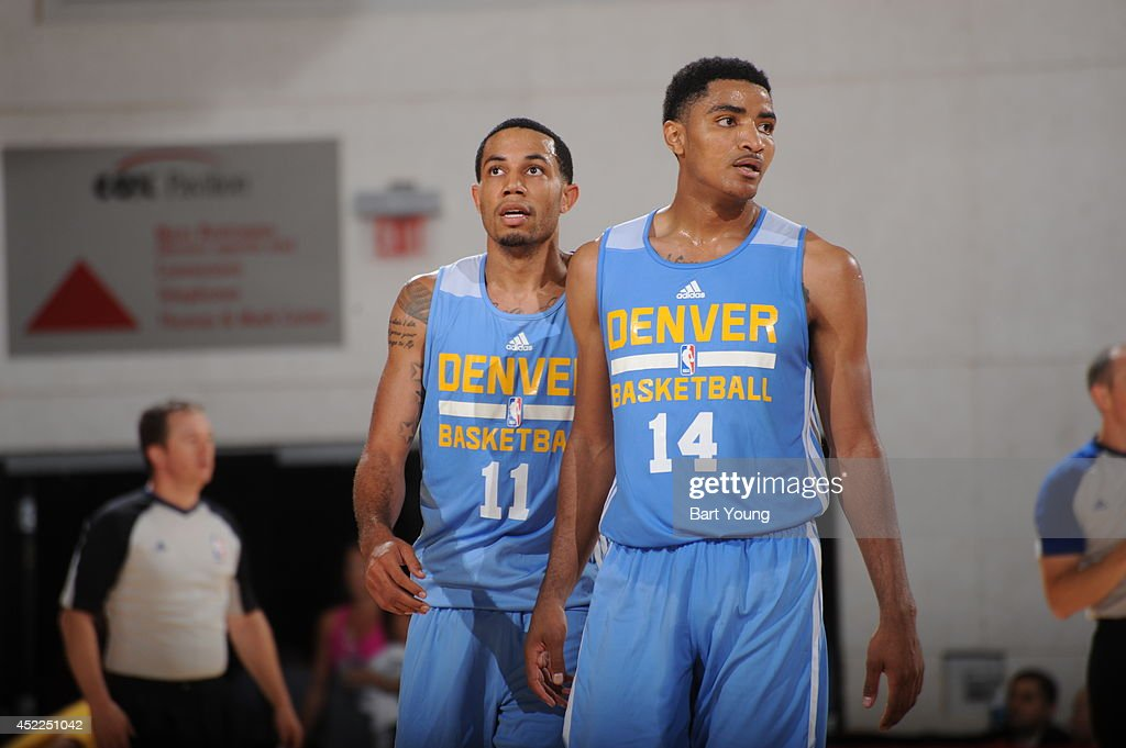 Erick Green #11 and Gary Harris #14 of the Denver Nuggets during the game against the D-League on July 16, 2014 at the Cox Pavilion in Las Vegas, Nevada.