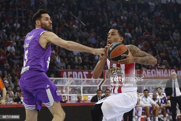 Erick Green of Olympiacos in action against Rudy Fernandez of Real Madrid during Turkish Airlines Euroleague match between Olympiacos and Real Madrid...