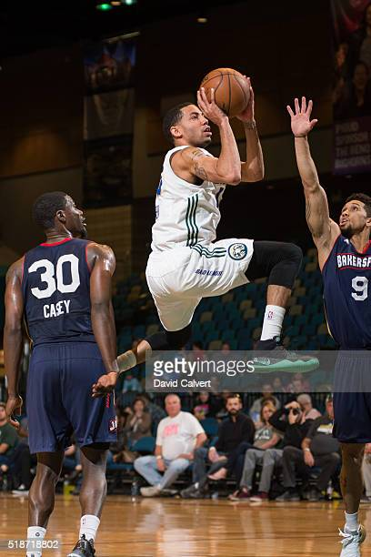 Erick Green of the Reno Bighorns shoots against the Bakersfield Jam at the Reno Events Center on APRIL 1 2016 in Reno Nevada NOTE TO USER User...