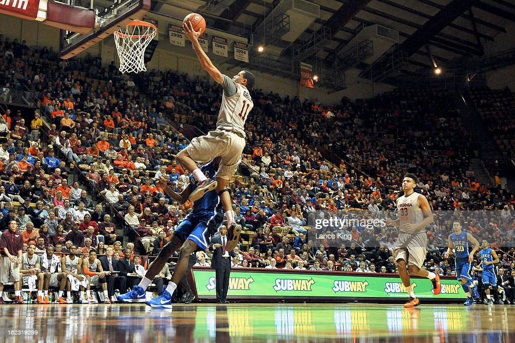 Erick Green #11 of the Virginia Tech Hokies goes to the hoop against the Duke Blue Devils at Cassell Coliseum on February 21, 2013 in Blacksburg, Virginia. Duke defeated Virginia Tech 88-56.