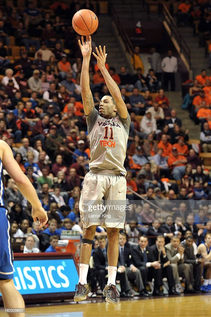 Erick Green #11 of the Virginia Tech Hokies puts up a shot against the Duke Blue Devils at Cassell Coliseum on February 21, 2013 in Blacksburg, Virginia. Duke defeated Virginia Tech 88-56.