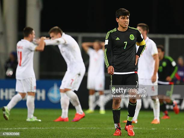Erick Gutierrez of Mexico looks dejected after Mexico were defeated by Serbia the FIFA U20 World Cup New Zealand 2015 Group D match between Serbia...